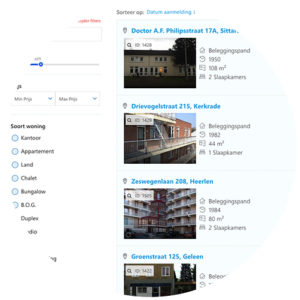 Pyber CRM - makelaars websites moderne woningaanbod lay-out