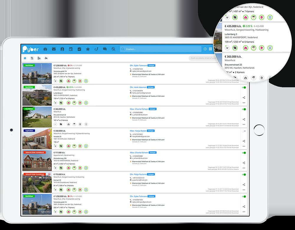 Pyber crm - makelaarssoftware - huizen websites koppeling funda jaap huislijn domcas